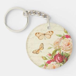 Porte-clés Roses et porte - clé vintages floraux de papillons