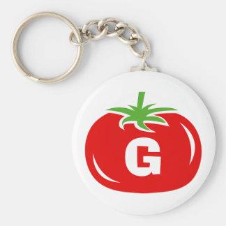 Porte - clés rouges de tomate de monogramme nommé porte-clés