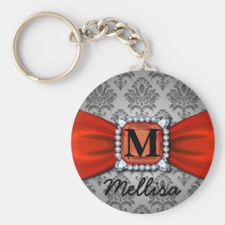 Porte-clés Ruban de damassé et monogramme et nom rouges de