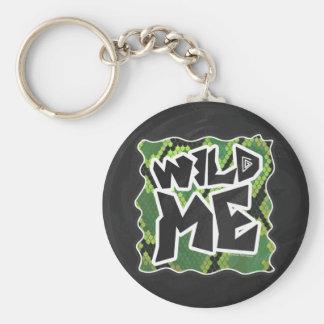 Porte-clés Sauvage je copie noire et verte de serpent
