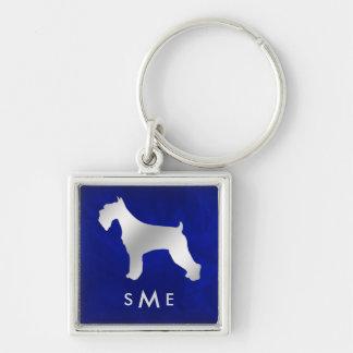 Porte-clés Schnauzer argenté bleu de monogramme