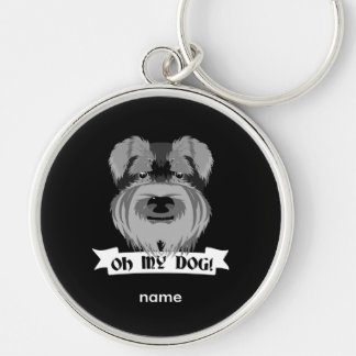 Porte-clés Schnauzer noir et blanc oh mon chien