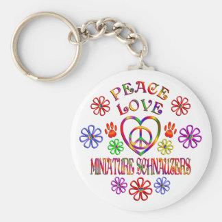 Porte-clés Schnauzers miniatures d'amour de paix