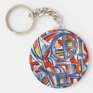 Porte-clés Serpent dans le poulailler - art abstrait peint à