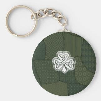 Porte-clés Shamrock chanceux irlandais de rétro patchwork à