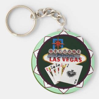 Porte-clés Signe de Las Vegas et jeton de poker de cartes