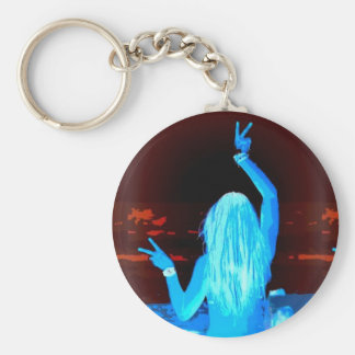 Porte-clés signe de paix hippie bleu