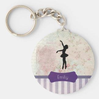 Porte-clés Silhouette de ballerine sur le motif vintage
