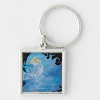 Porte-clés Silhouette de ciel bleu de femme de merveille