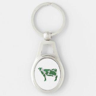 Porte-clés Silhouette verte et blanche de vache