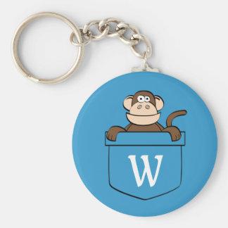 Porte-clés Singe drôle dans une poche décorée d'un monogramme
