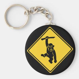 Porte-clés Singes de précaution, poteau de signalisation,