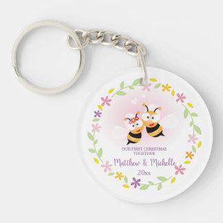 Porte-clés Souvenir mignon de M. et de Mme Honey Bee First