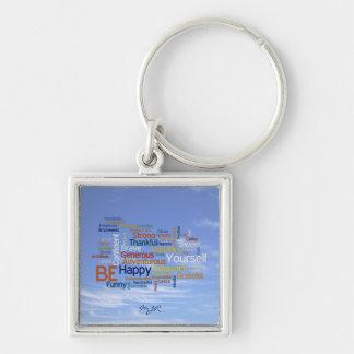 Porte-clés Soyez heureux que nuage de mot en ciel bleu