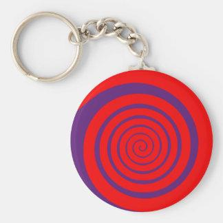 Porte-clés spirale hypnotique rouge