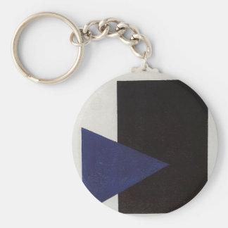 Porte-clés Suprematism avec la triangle bleue et le carré