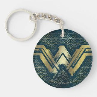 Porte-clés Symbole balayé d'or de femme de merveille