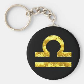 Porte-clés Symbole d'or de noir de signe de zodiaque de
