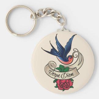 Porte-clés Tatouage d'oiseau bleu de Carpe Diem