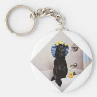 Porte-clés Temps drôle de Bath de laboratoire de chien noir