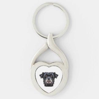 Porte-clés Tête de chien noir de démon