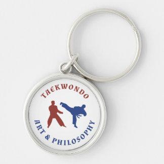 Porte-clés Timbre rouge et bleu du Taekwondo