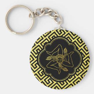 Porte-clés Trinacria sicilien dans le noir d'or