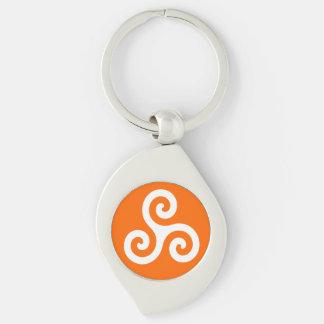 Porte-clés Triskele en spirale triple celtique blanc sur