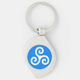 Porte-clés Triskele en spirale triple celtique blanc sur le