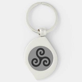 Porte-clés Triskele en spirale triple celtique noir sur le