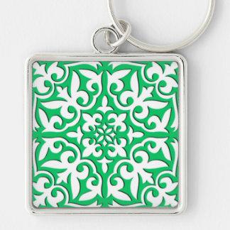 Porte-clés Tuile marocaine - vert et blanc de jade