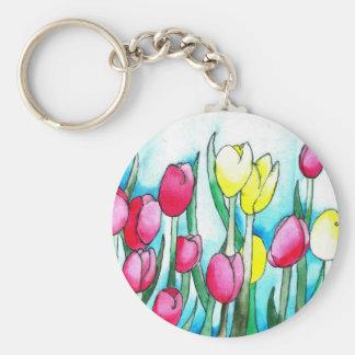 Porte-clés Tulipes d'aquarelle (art de Kimberly Turnbull)
