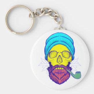 Porte-clés Tuyau de tabagisme jaune de crâne