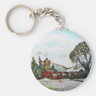 Porte-clés Un croquis britannique idyllique de village
