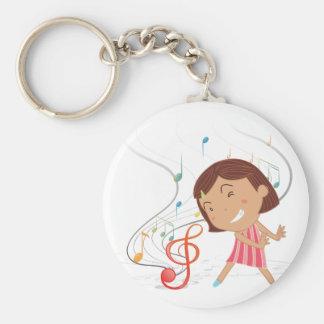 Porte-clés Une danse de petite fille avec les notes musicales