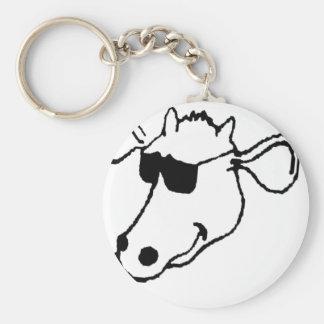 Porte-clés Vache de tabagisme avec des lunettes de soleil