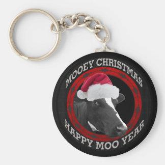 Porte-clés Vache heureuse à casquette de Père Noël d'année de