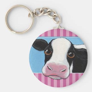 Porte-clés Vache noire et blanche lunatique mignonne avec la