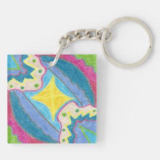 Porte-clés Vagues et porte - clé acrylique stylisé d'île