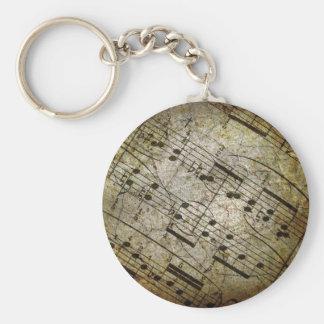 Porte-clés Vieille illustration musicale de feuille, notes