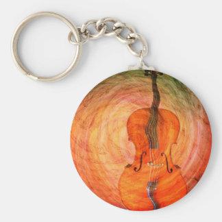 Porte-clés Violoncelle surréaliste avec les notes musicales