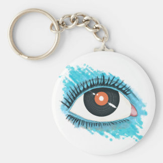 Porte-clés Vision musicale : eye illustration with vinyl