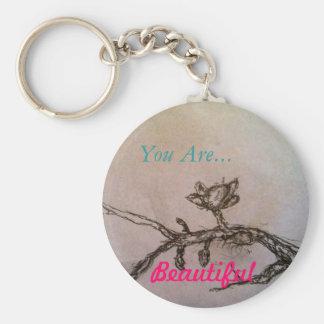 Porte-clés Vous êtes beau porte - clé simple de fleur