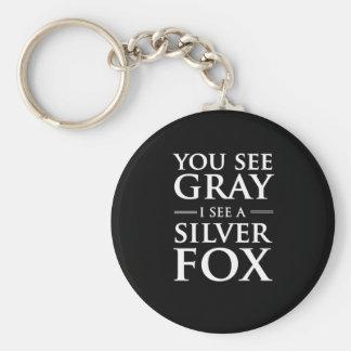 Porte-clés Vous voyez le gris, je voyez un Fox argenté