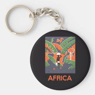 Porte-clés Voyage vintage d'art déco, indigène dans la jungle