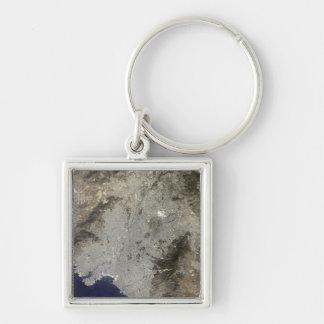 Porte-clés vue satellite de Vrai-couleur d'Athènes central