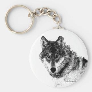 Porte-clés Yeux inspirés blancs noirs de loup