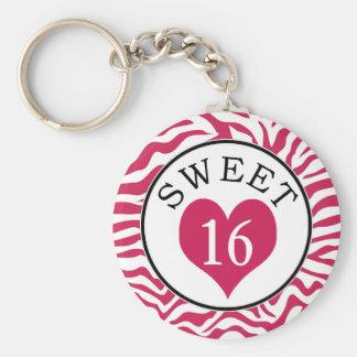 Porte-clés Zèbre et coeur roses de sweet sixteen