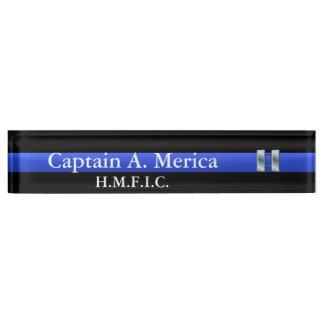 Porte-nom Pour Bureau Blue Line mince - capitaine Bars Rank