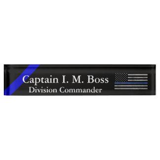 Porte-nom Pour Bureau Blue Line mince - drapeau déchiré en lambeaux